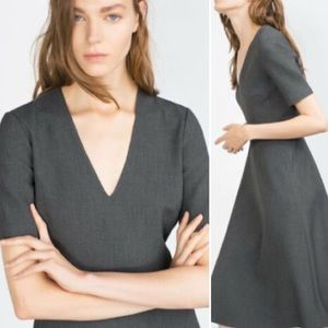 Zara Gray Midi Dress with V-Neck Sz M
